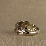 18K carved poppy wedding band