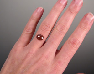 Red oval rose-cut diamond