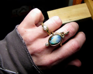 14K snake cocktail ring + Boulder opal & OEC diamond