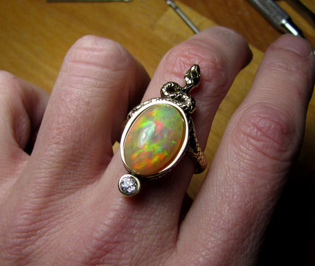 Ethiopian opal in snake ring