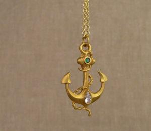 22K anchor pendant w/diamond & emerald