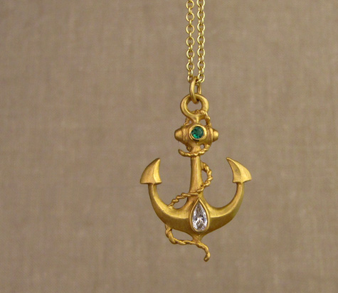 22K anchor pendant w/diamond & emerald