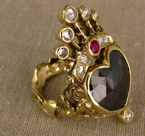 Crowned heart + dancing girls custom carved ring, black diamond + rose-cut diamonds