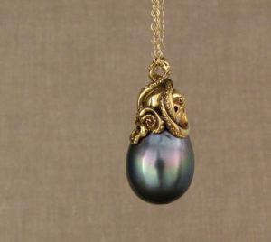 Custom carved 18K Octopus Tahitian Pearl Pendant
