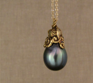 Custom carved 18K Octopus Tahitian Pearl Pendant
