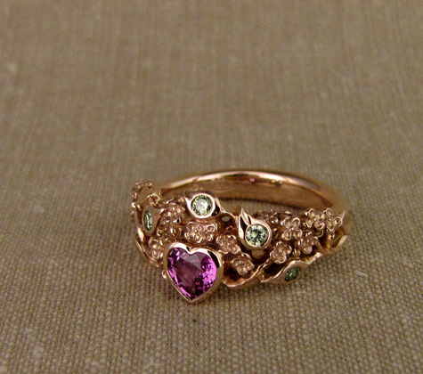 Hand-carved lilac ring with purple sapphire and pale green diamonds, 14K rose gold