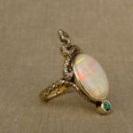 Hand-carved snake cocktail ring with opal and paraiba tourmaline, 14K gold