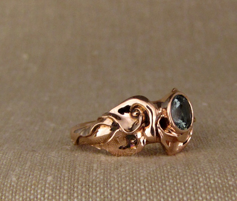 Hand-carved calla lily ring with Montana sapphire, 14K rose gold
