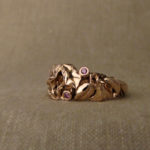 Hand-carved morning glory ring, rose gold