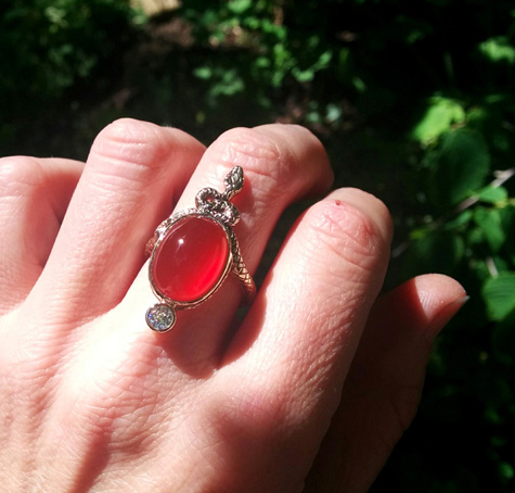 Hand-carved snake cocktail ring with Carnelian and OEC diamond, 14K gold