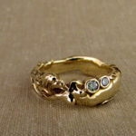 Hand-carved mermaid ring in 14K gold + diamonds