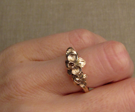 Hand-carved orchid ring in rose gold