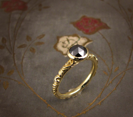 18K & Black rose-cut diamond Victorian Solitaire