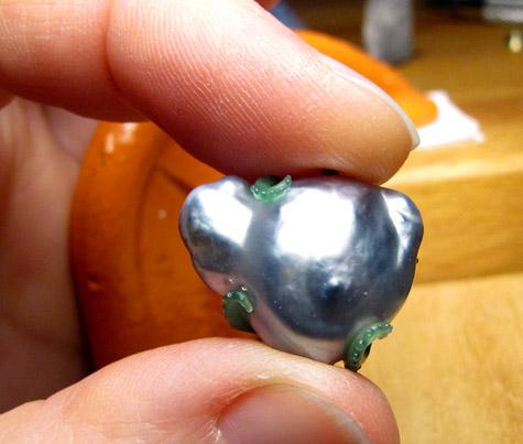 Wax model: tentacled earrings baroque Tahitian pearl