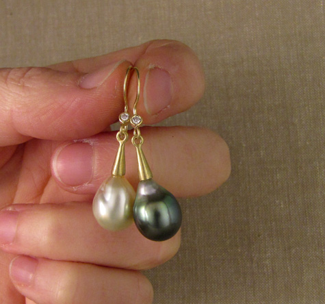 One-of-a-kind Tahitian & South Sea baroque pearl drop earrings with diamonds, 18K