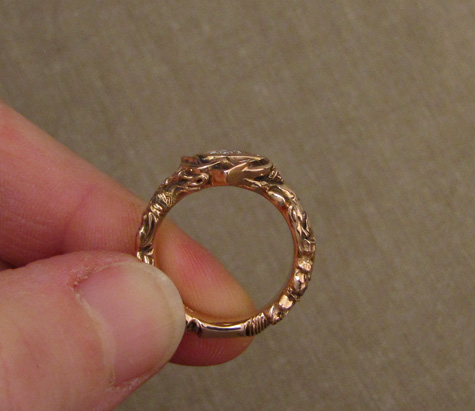 Easter wedding ring, handmade in 14K rose gold with a trillion diamond