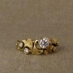 Ginkgo & Diamond ring, 18K yellow gold