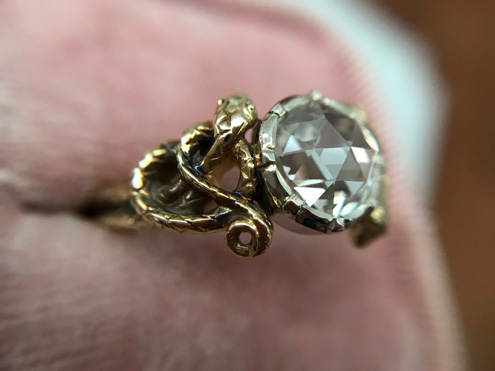 Double-snake solitaire, rose cut diamond