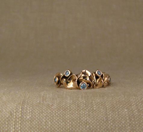 Custom calla lily band in rose gold + diamonds