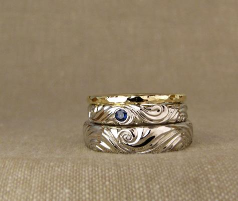 Custom water swirl wedding bands