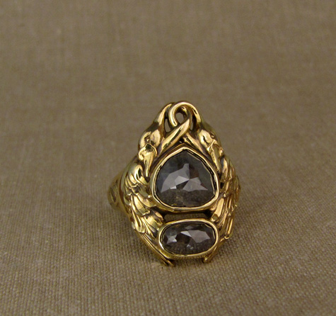 Custom-carved Swan ring, 18K + gray rose-cut diamonds