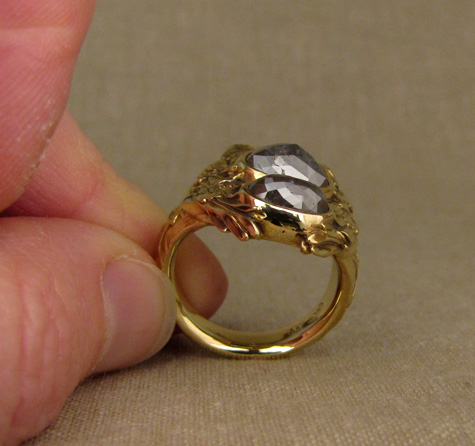 Custom-carved Swan ring, 18K + gray rose-cut diamonds