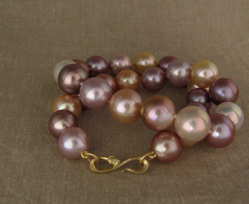 Giant Pink Pearl Choker w/hand-carved snake clasp
