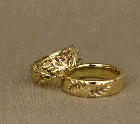 18K Custom Oak Leaves + twig wedding bands