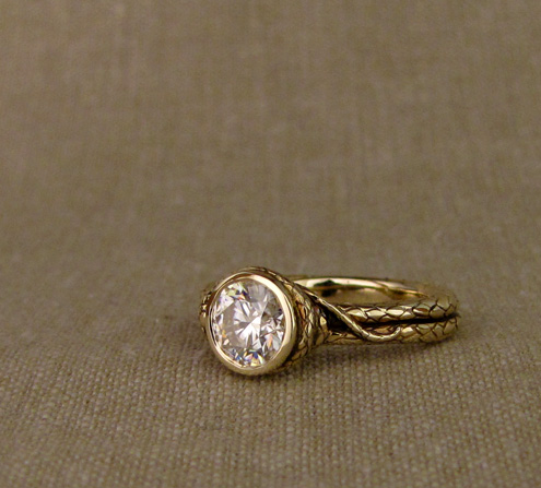 Custom 1ct coiled snake solitaire, 14K gold