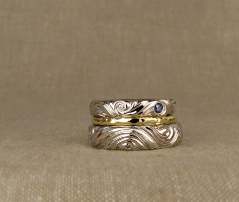 Custom water swirl wedding bands
