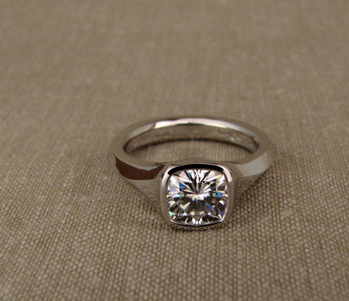 2ct Cushion custom geometric solitaire