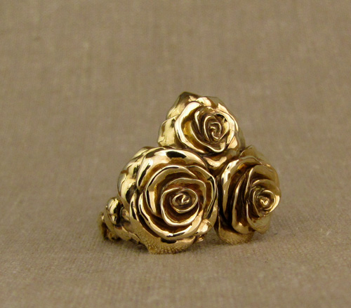 18K hand-carved custom rose+birds cocktail ring