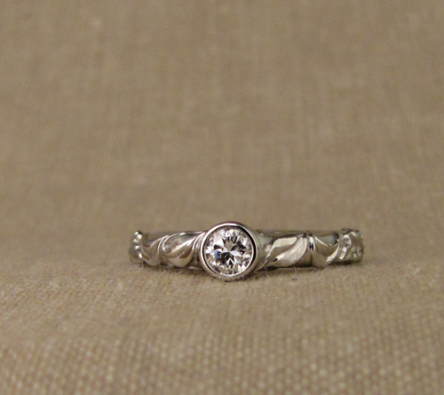 Custom designed & carved wedding set: oak & cherry leaves solitaire + eternity band with diamond & sapphire, palladium