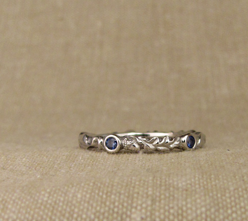 Custom designed & carved wedding set: oak & cherry leaves solitaire + eternity band with diamond & sapphire, palladium