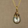 swirled, crepe-y carved pearl drop pendant