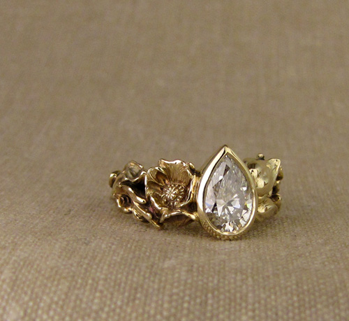 Pear diamond solitaire: Hand-carved poppy & fritillaria flowers