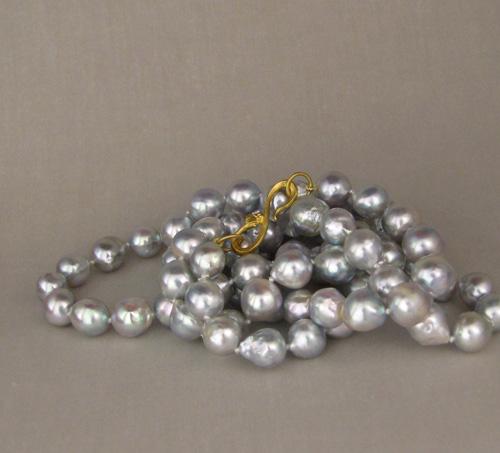 "Silver-blue baroque akoya strand, 32"", 22K hand-carved snake clasp"