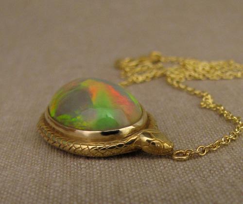 18K snake choker Ethiopian opal