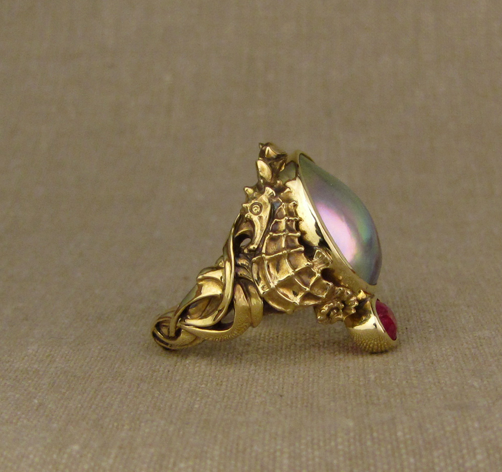 18K Custom hand-carved seahorses ring with mabe Cortez Pearl & ruby
