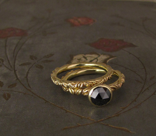 Victorian Solitaire & Band with black diamond, 18K