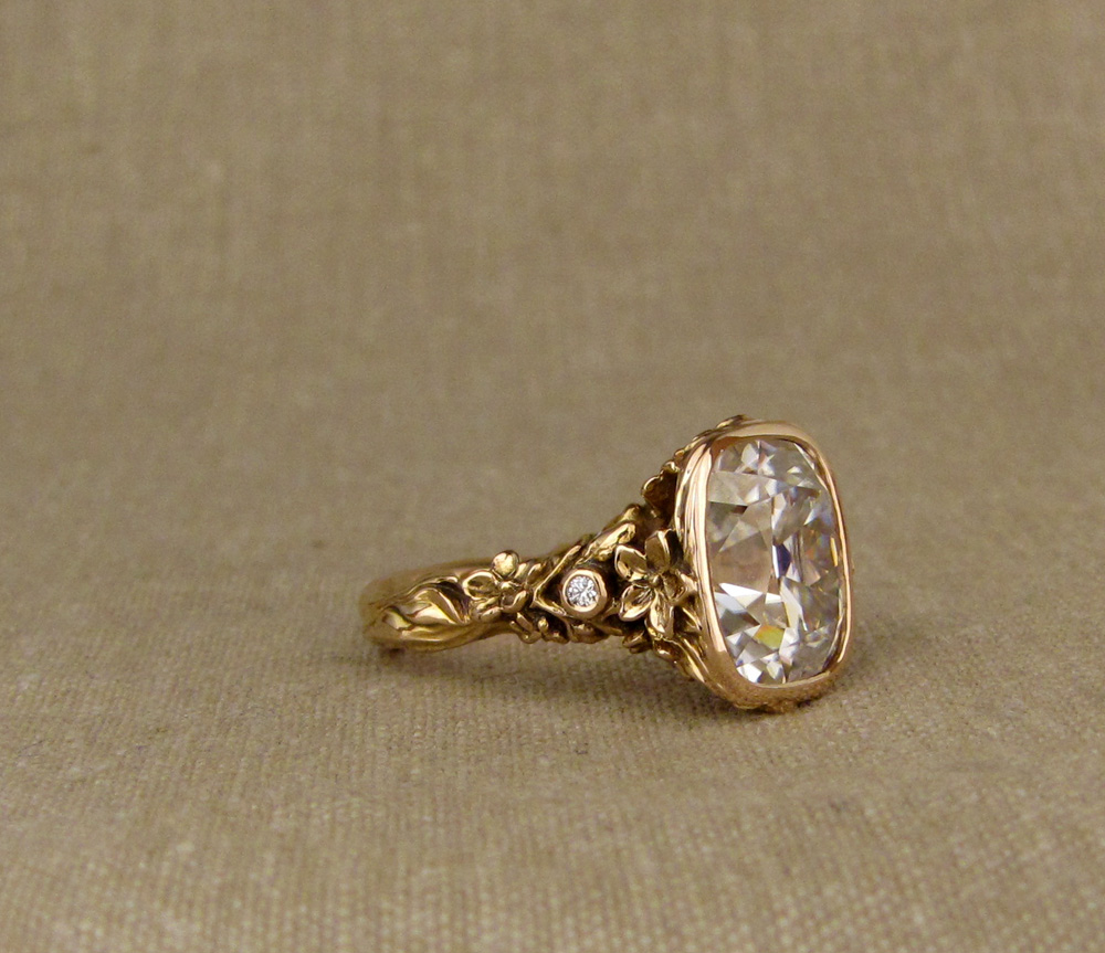 20K gold solitaire hand-carved with Japanese peach blossoms and honeybees
