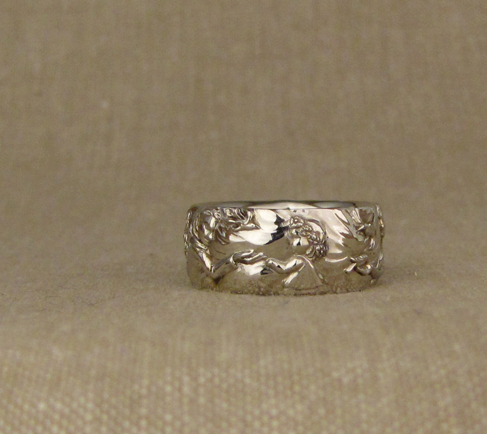 Hand-carved family portrait storybook band, 14K white gold