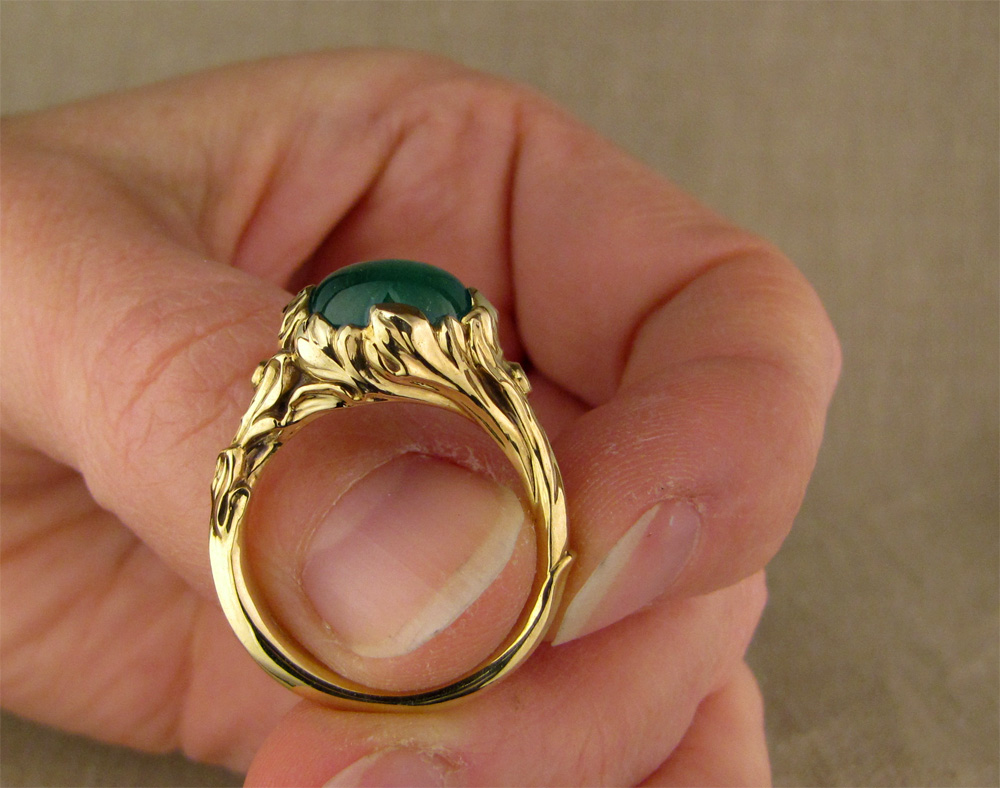 18K custom hand-carved Rococo Emerald & diamond Solitaire