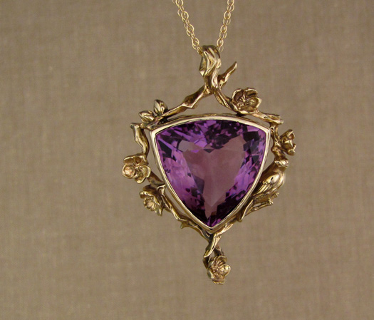 Custom designed & carved Amethyst pendant: 14K apple blossoms & songbird