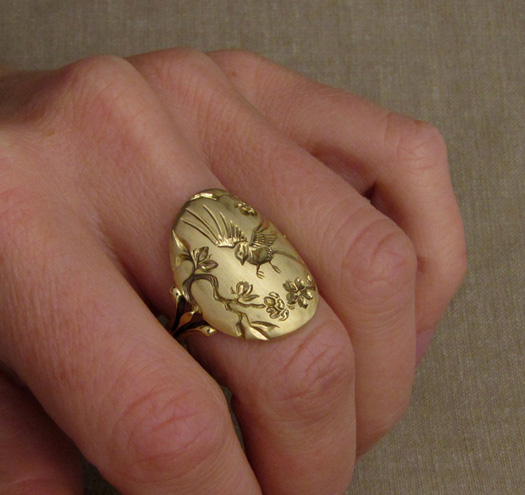 Hand-carved chickadee & apple blossom signet-style ring in 18K gold