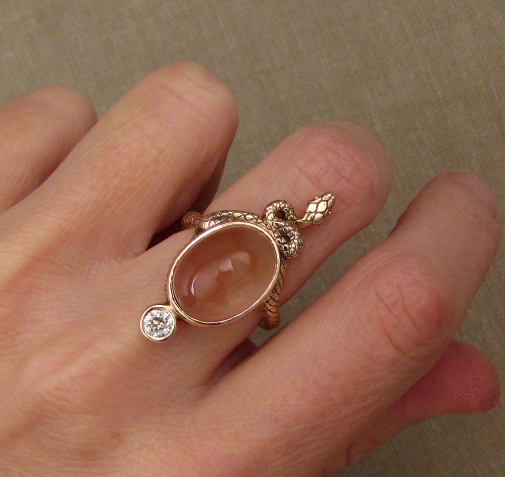 Hand-carved Snake Cocktail Ring with sunstone & OEC diamond, rose gold
