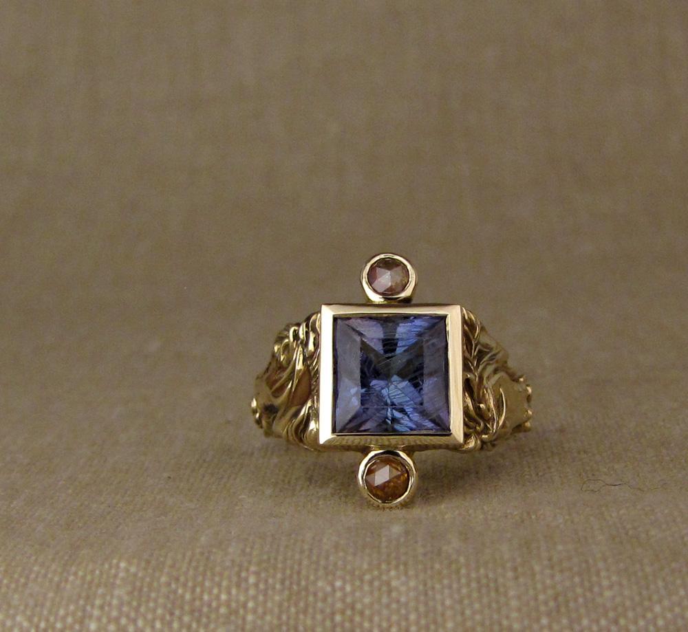 Custom designed & hand-carved Icelandic horse ring, Tanzanite and diamonds, 14K gold