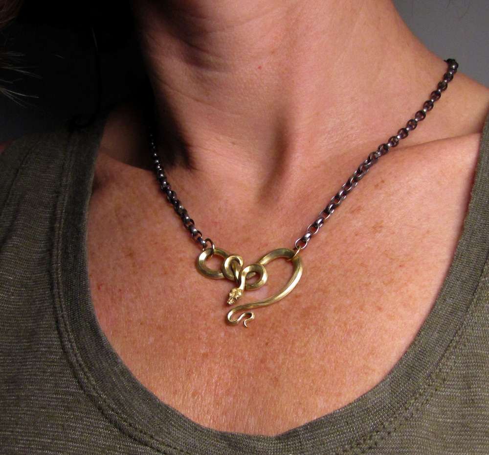Custom designed & hand-carved snake neckpiece/necklace, 18K and sterling silver