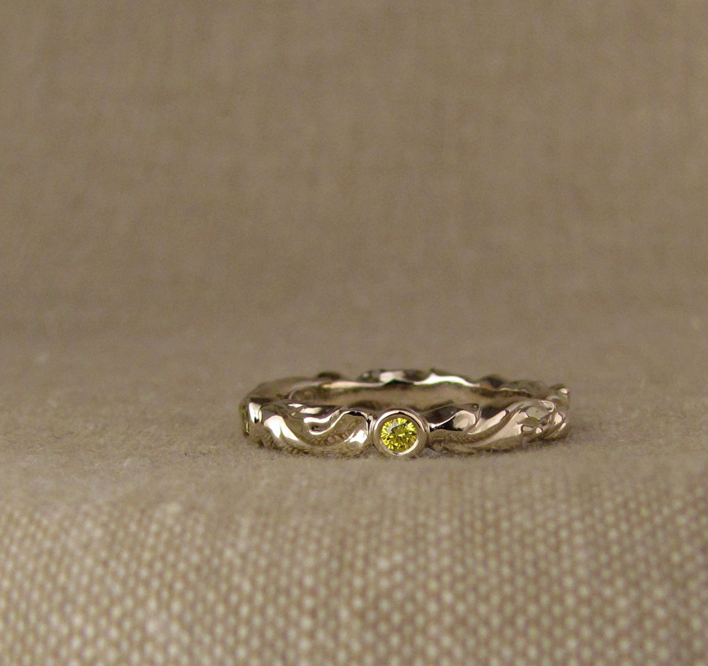 Custom designed & hand carved Poppy Solitaire & wedding band with fancy yellow diamond, 14K white gold