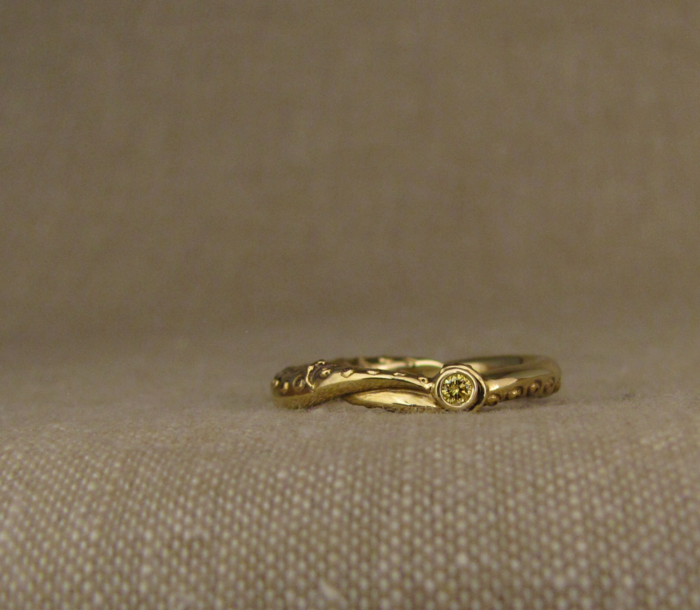 Custom and hand-carved Squid Wedding Bands, 18K gold